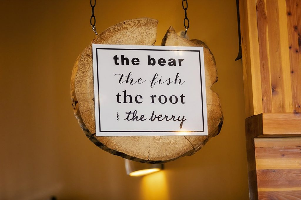 Bear Fish Root Berry Sign